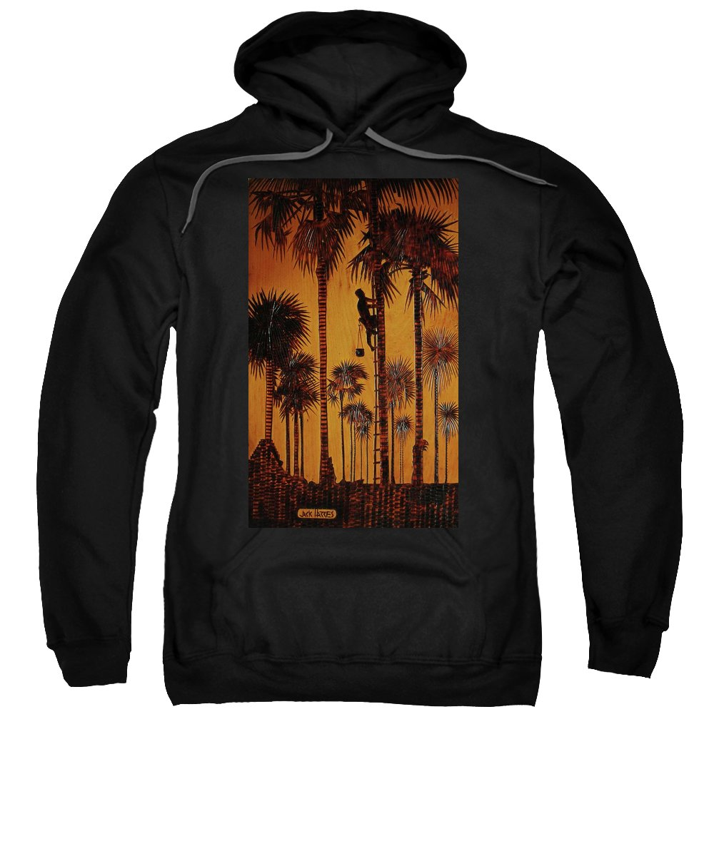 Wood Burning Sweatshirt featuring the drawing Palm Silhouette by Jack Harries