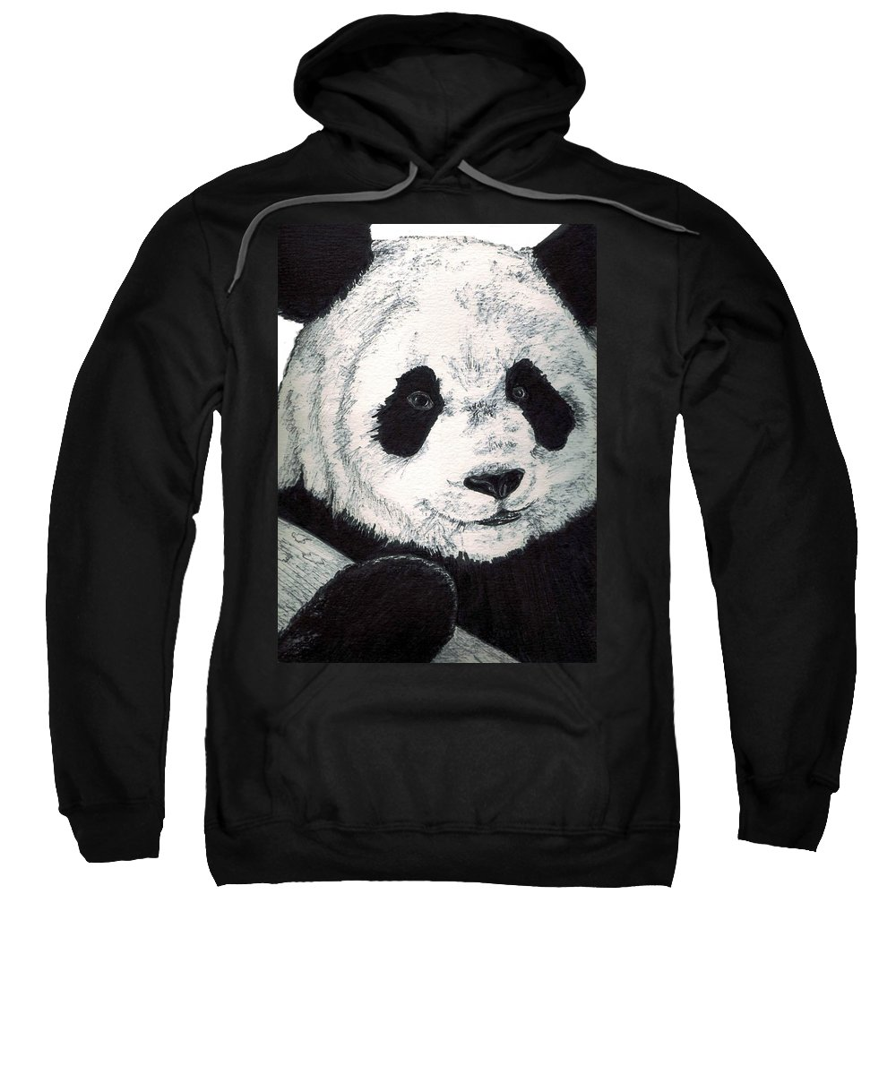 Panda Sweatshirt featuring the painting Panda by Debra Sandstrom