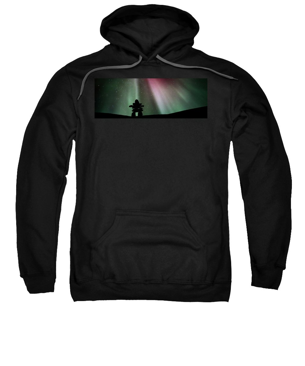 Sweatshirt featuring the digital art Panoramic Inukshuk Northern Lights by Mark Duffy