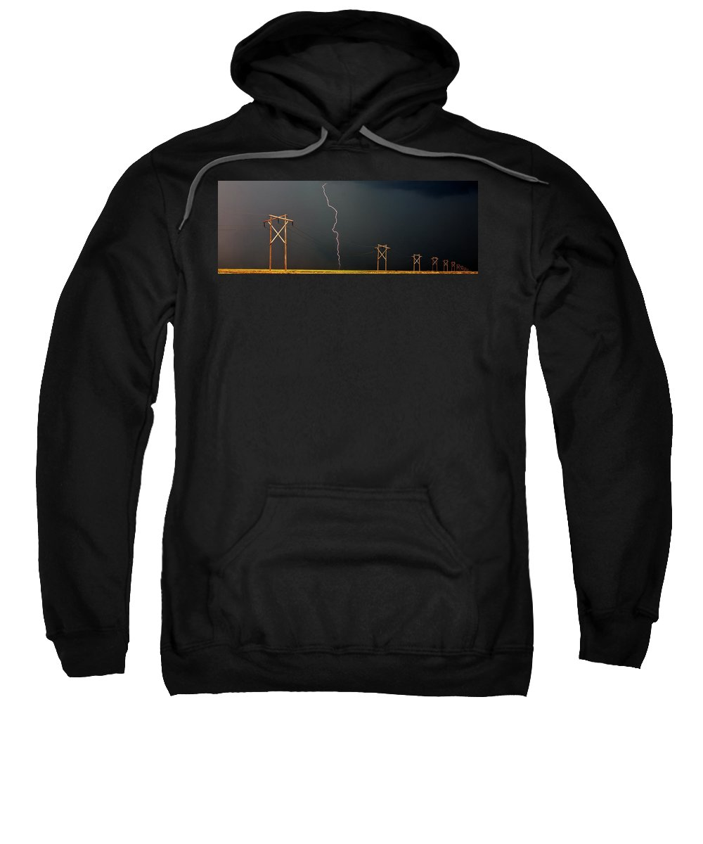 Sweatshirt featuring the digital art Panoramic Lightning Storm And Power Poles by Mark Duffy