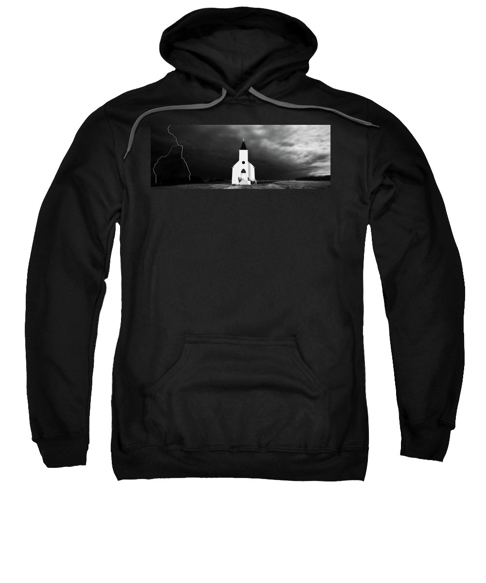 Sweatshirt featuring the digital art Panoramic Lightning Storm And Prairie Church 2 by Mark Duffy