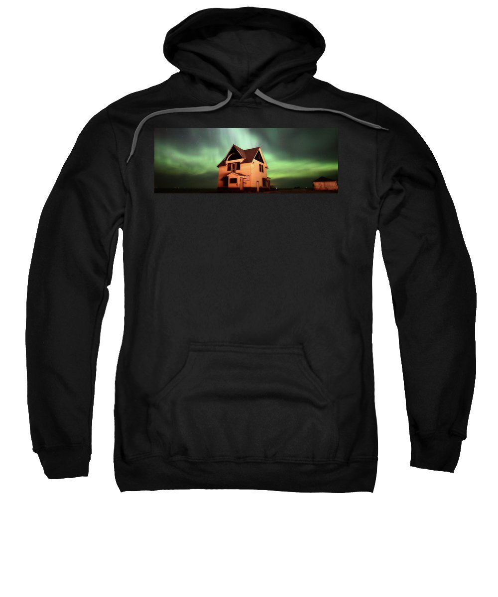 Sweatshirt featuring the photograph Panoramic Prairie Northern Lights And House by Mark Duffy