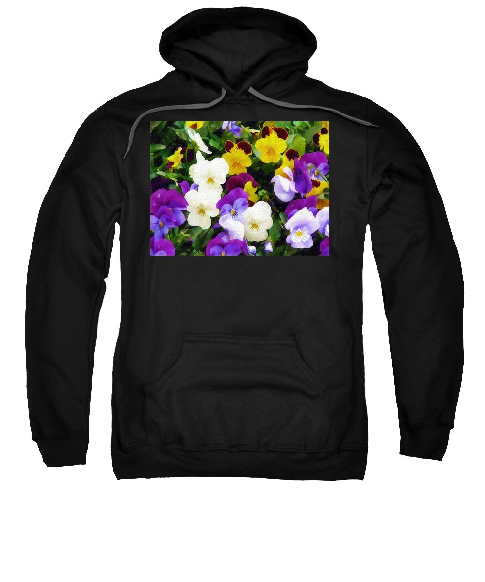 Pansies Sweatshirt featuring the photograph Pansies by Sandy MacGowan