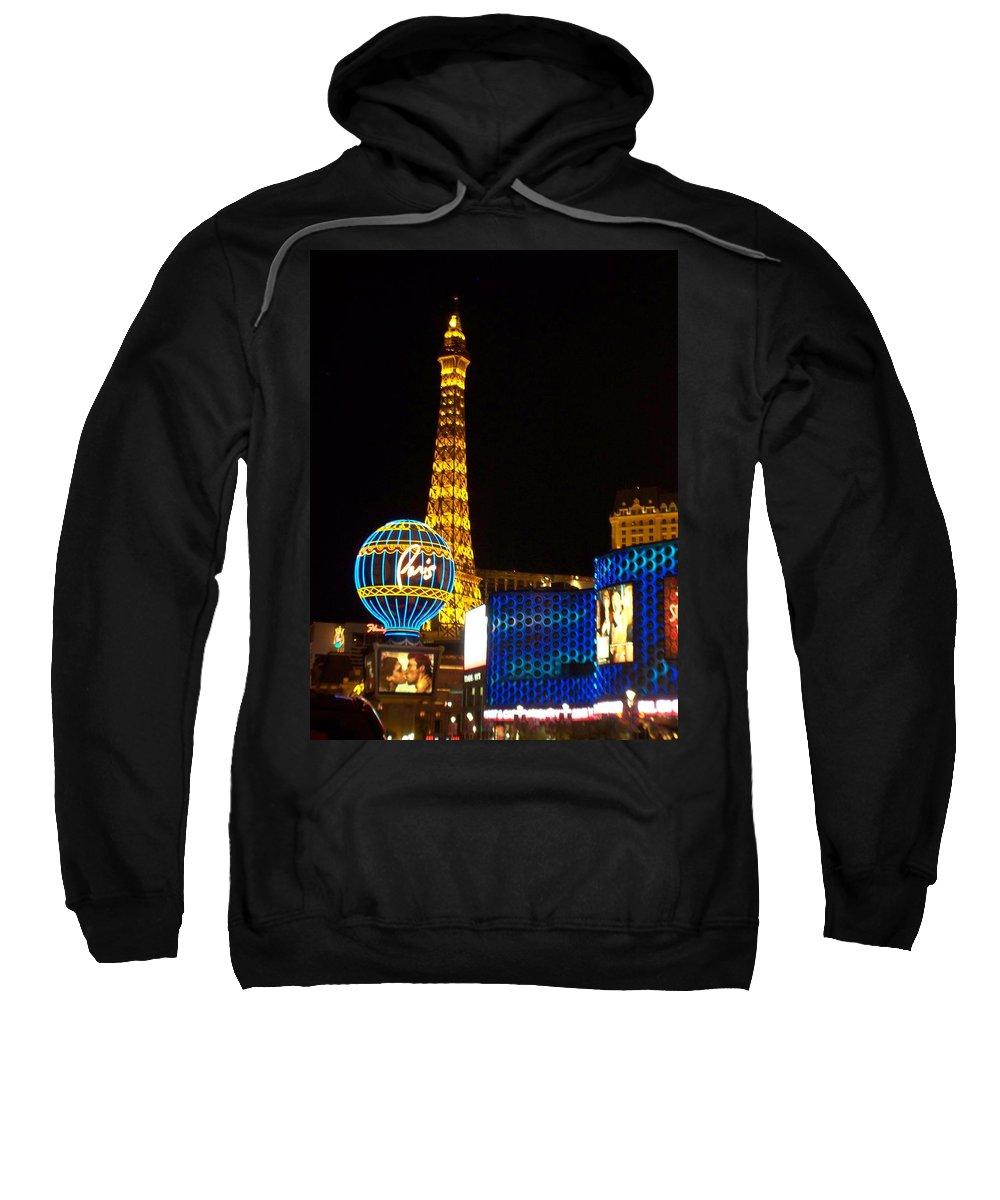 Vegas Sweatshirt featuring the photograph Paris Hotel At Night by Anita Burgermeister
