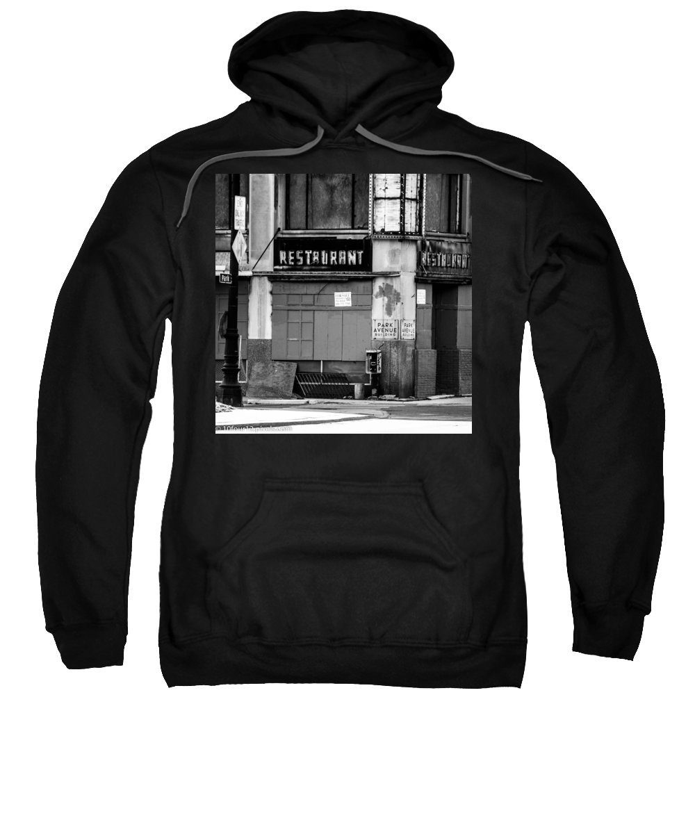 Detroit Michigan Park Ave Black Ans White Sweatshirt featuring the photograph Park Ave by Terry Cross