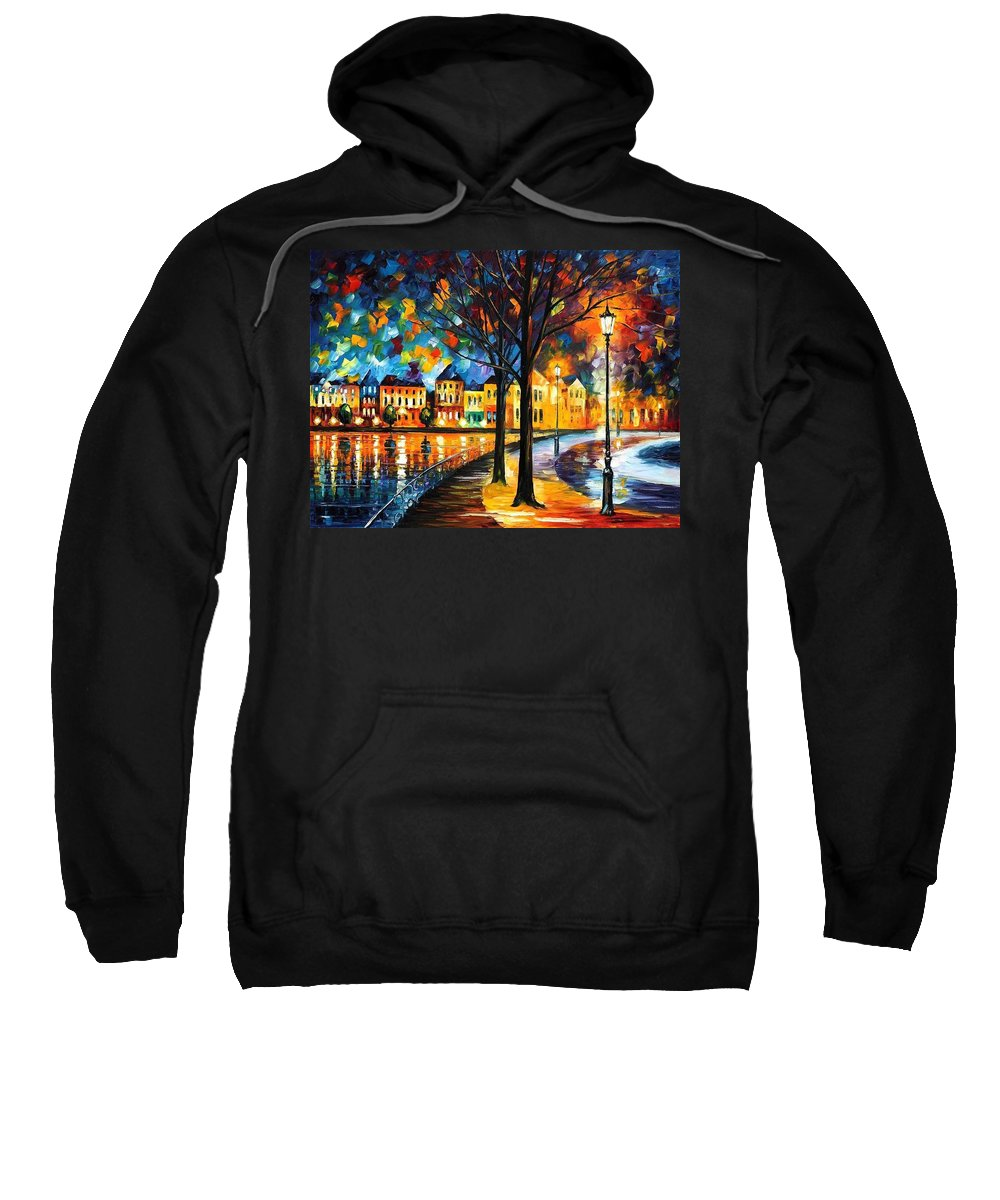 Afremov Sweatshirt featuring the painting Park By The River by Leonid Afremov