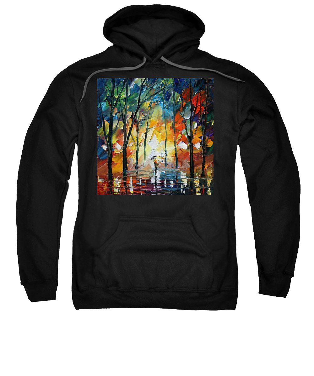 Afremov Sweatshirt featuring the painting Park by Leonid Afremov