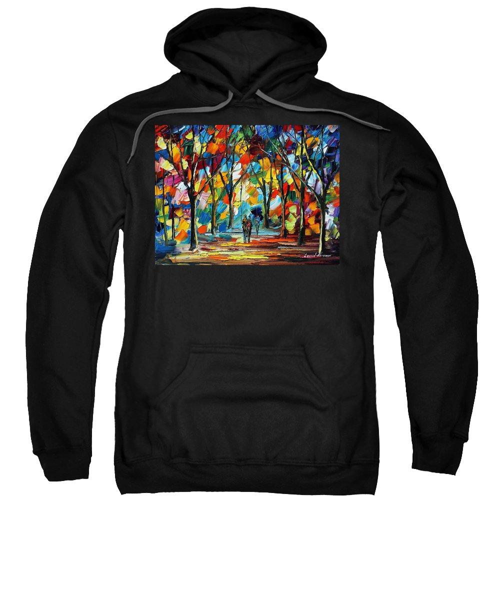 Afremov Sweatshirt featuring the painting Park Of Freedom by Leonid Afremov