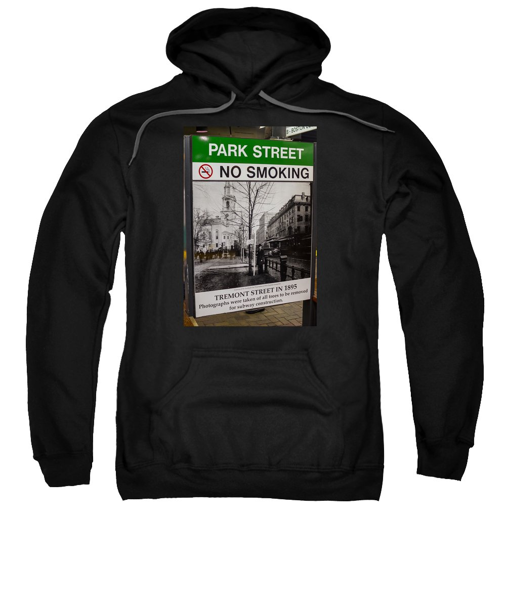 Boston Sweatshirt featuring the photograph Park Street Station Sign by Jeff Cutler
