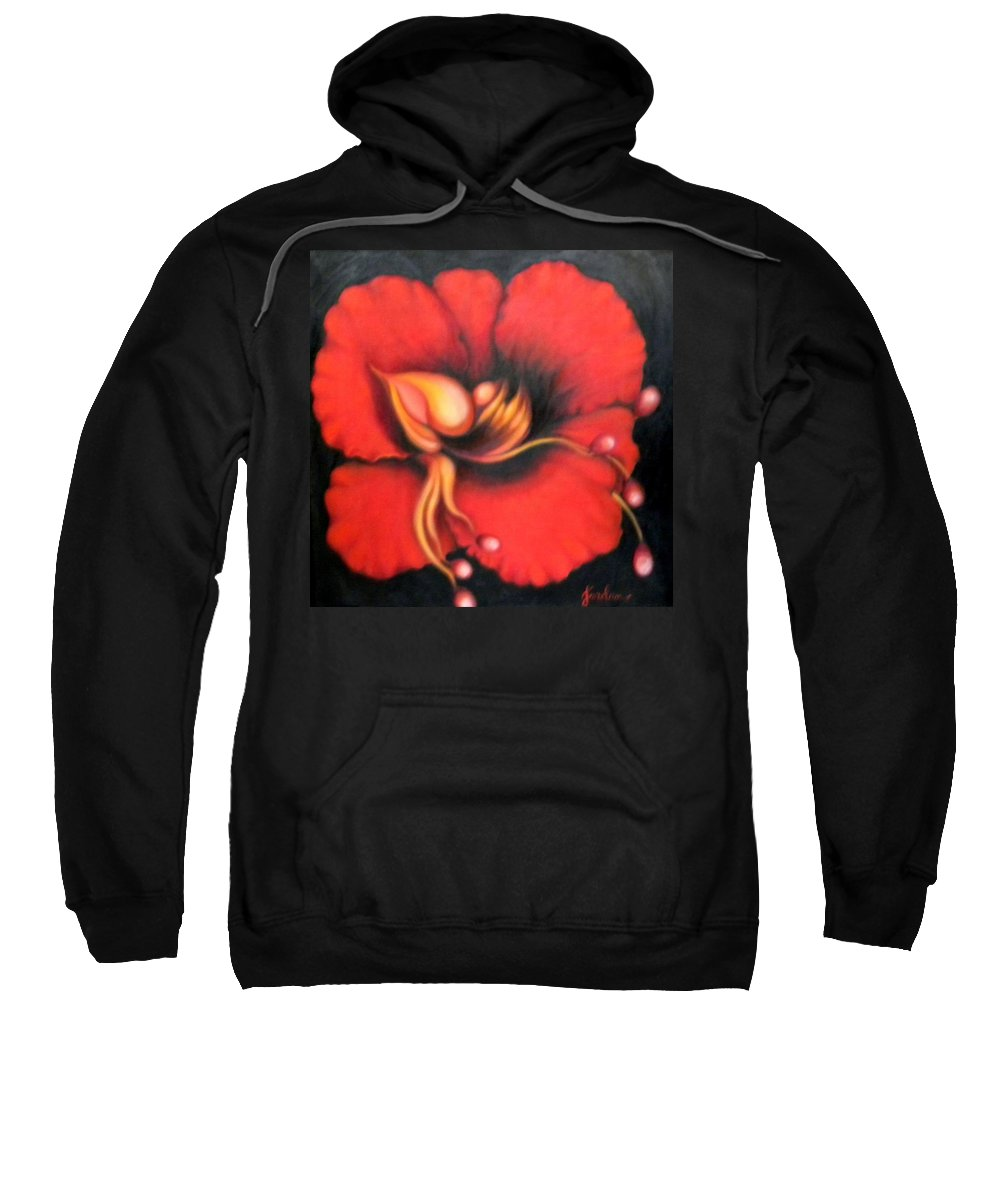Red Surreal Bloom Artwork Sweatshirt featuring the painting Passion Flower by Jordana Sands