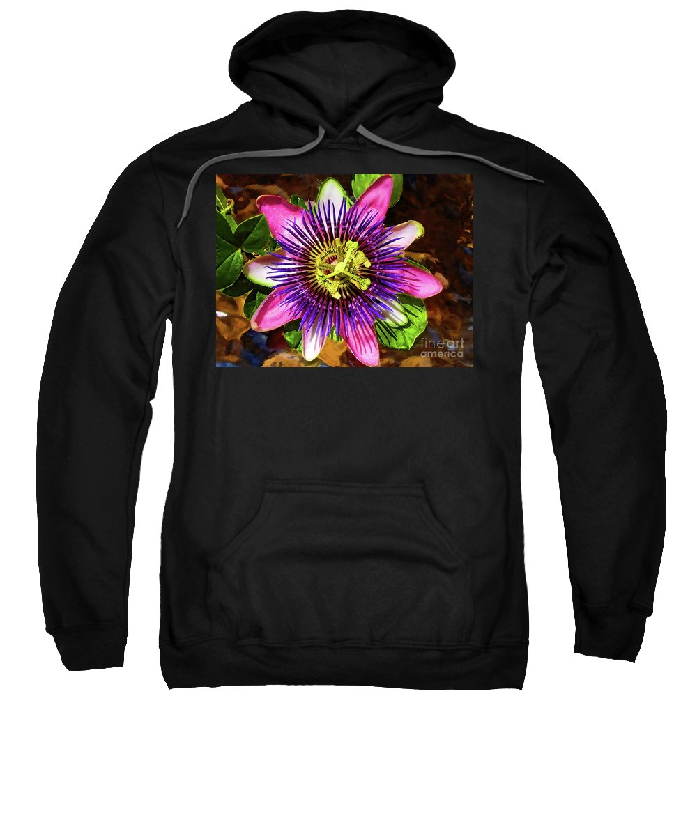 Unusual Lavender Flower Sweatshirt featuring the photograph Passion Flower by Mariola Bitner