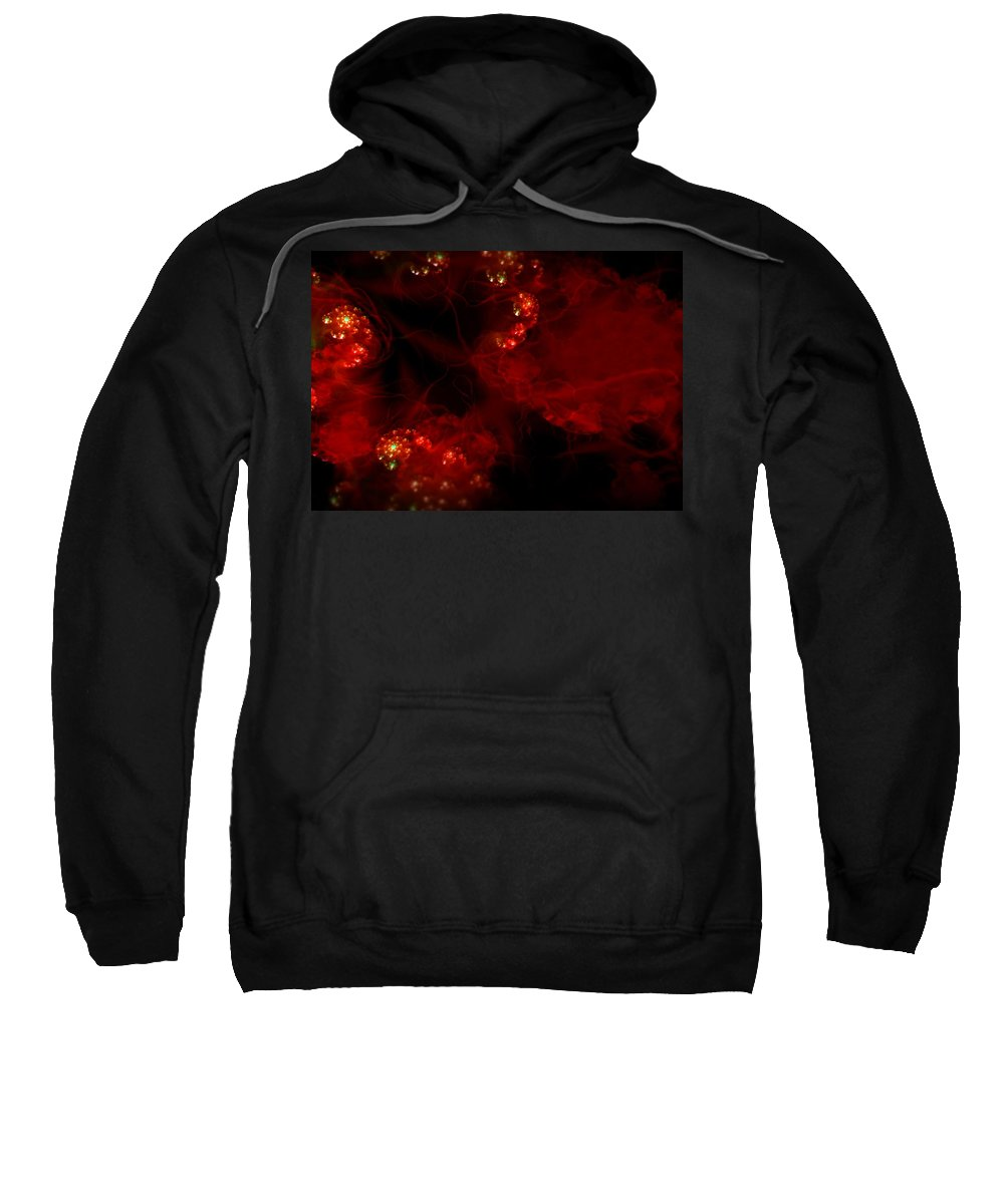 Passion Red Explosion Expression Blood Heart Sweatshirt featuring the digital art Passional by Veronica Jackson