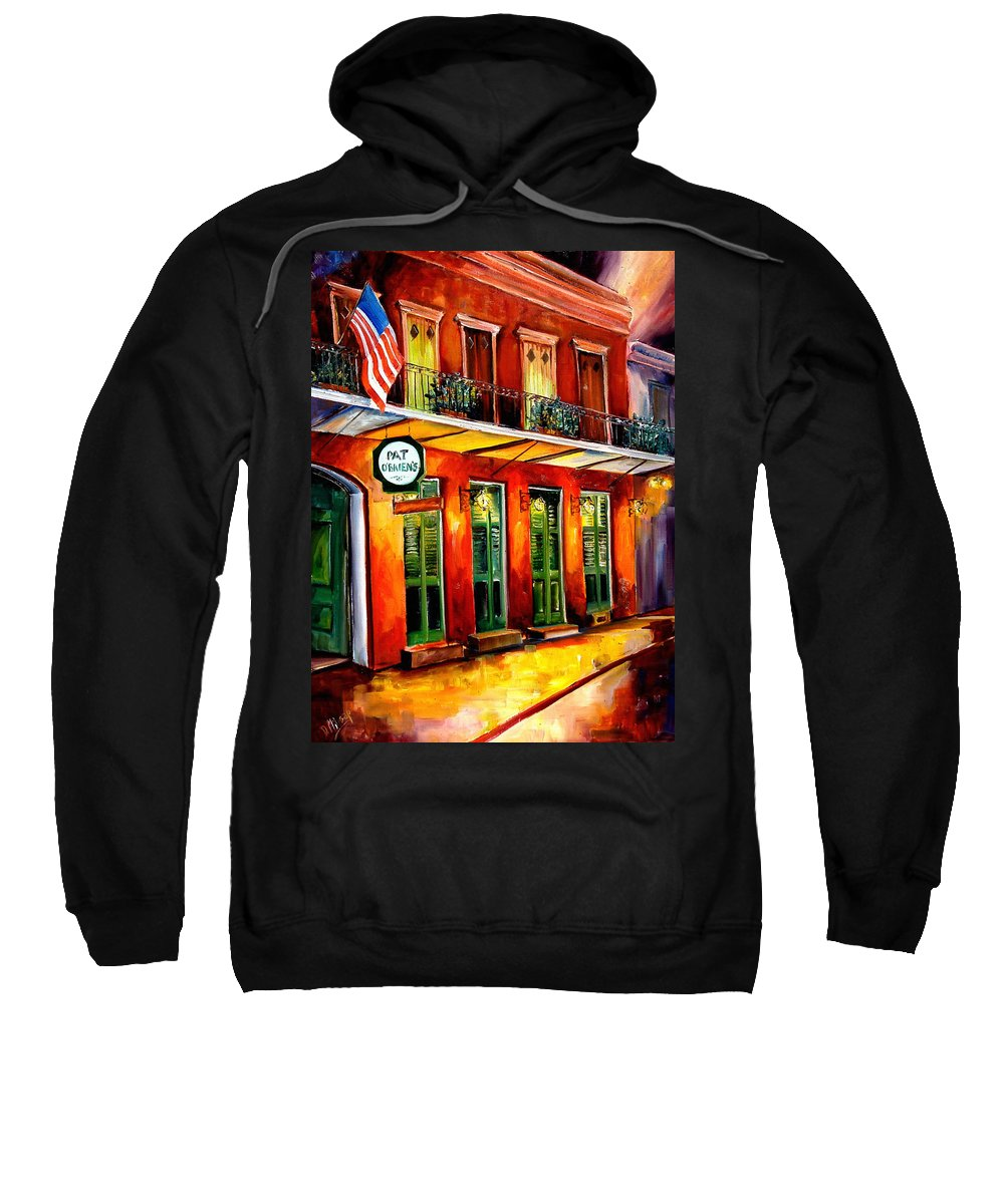 New Orleans Paintings Sweatshirt featuring the painting Pat O Briens Bar by Diane Millsap