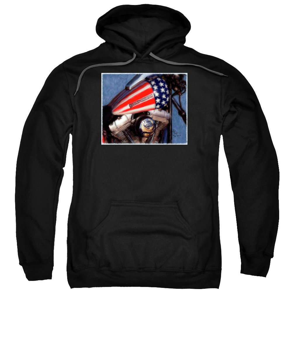 Motorcycles Sweatshirt featuring the painting Live To Ride by Colleen Taylor