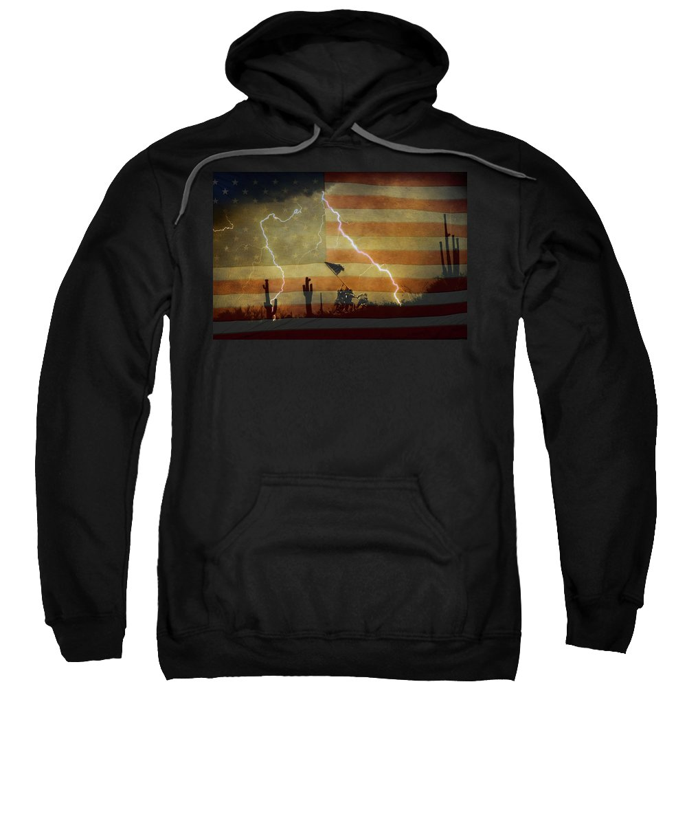 Lightning Sweatshirt featuring the photograph Patriotic Operation Desert Storm by James BO Insogna