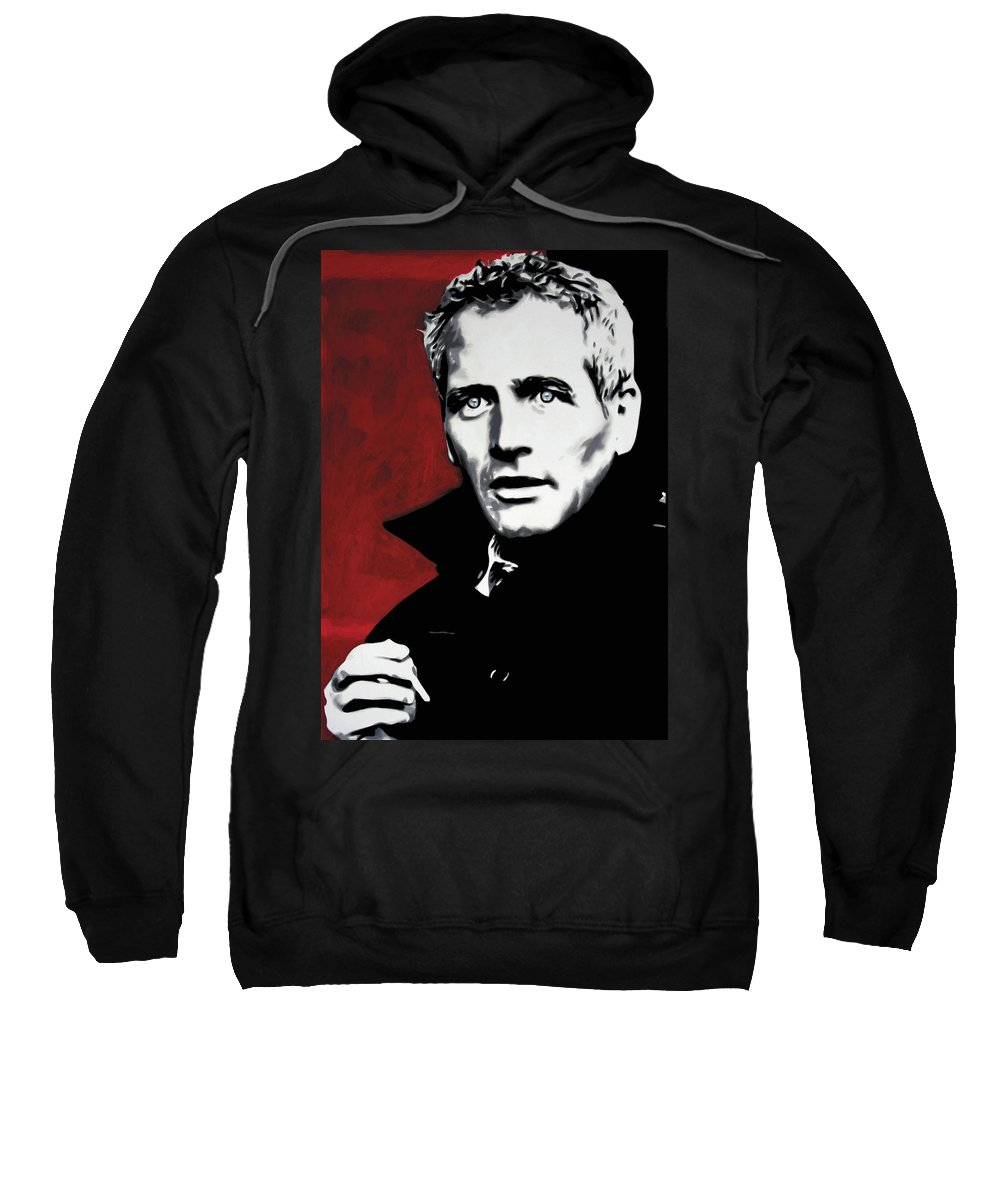 Paul Newman Sweatshirt featuring the painting Paul Newman by Luis Ludzska