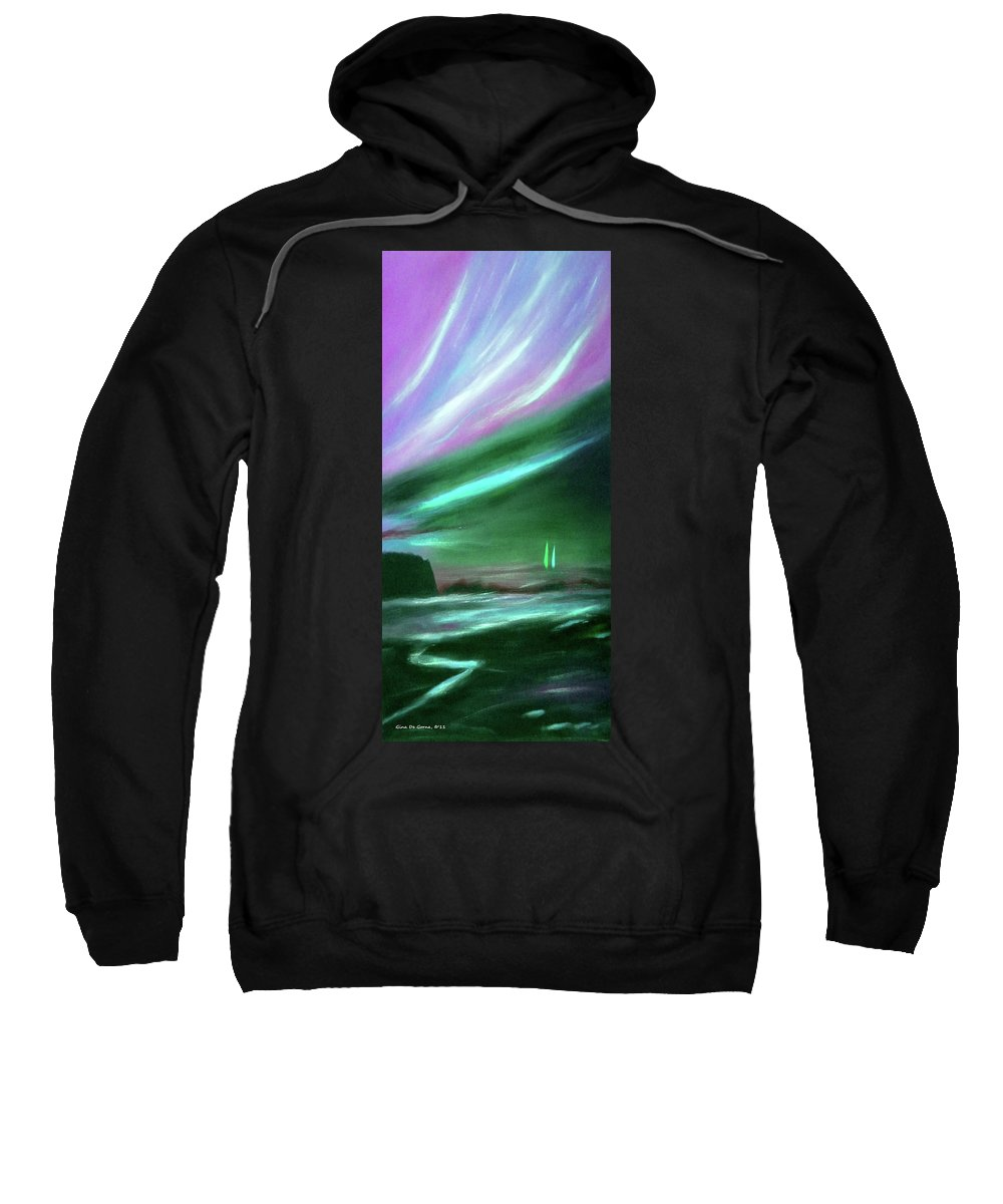 Sunset Sweatshirt featuring the painting Peace Is Colorful 2 - Vertical Painting by Gina De Gorna
