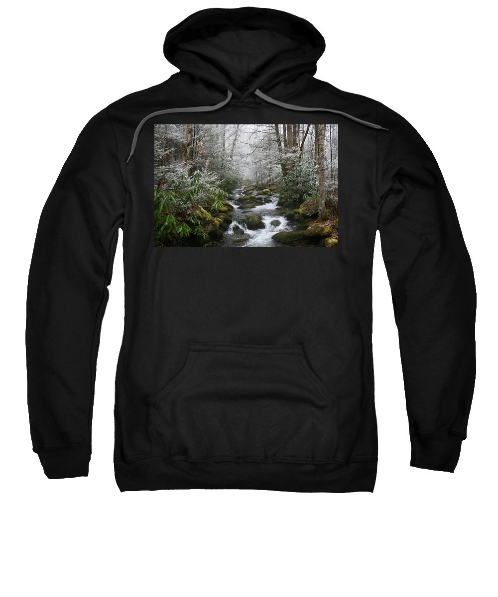 Forest Wood Woods Nature Green White Snow Winter Season Creek River Stream Flow Rock Tree Rush Sweatshirt featuring the photograph Peaceful Flow by Andrei Shliakhau