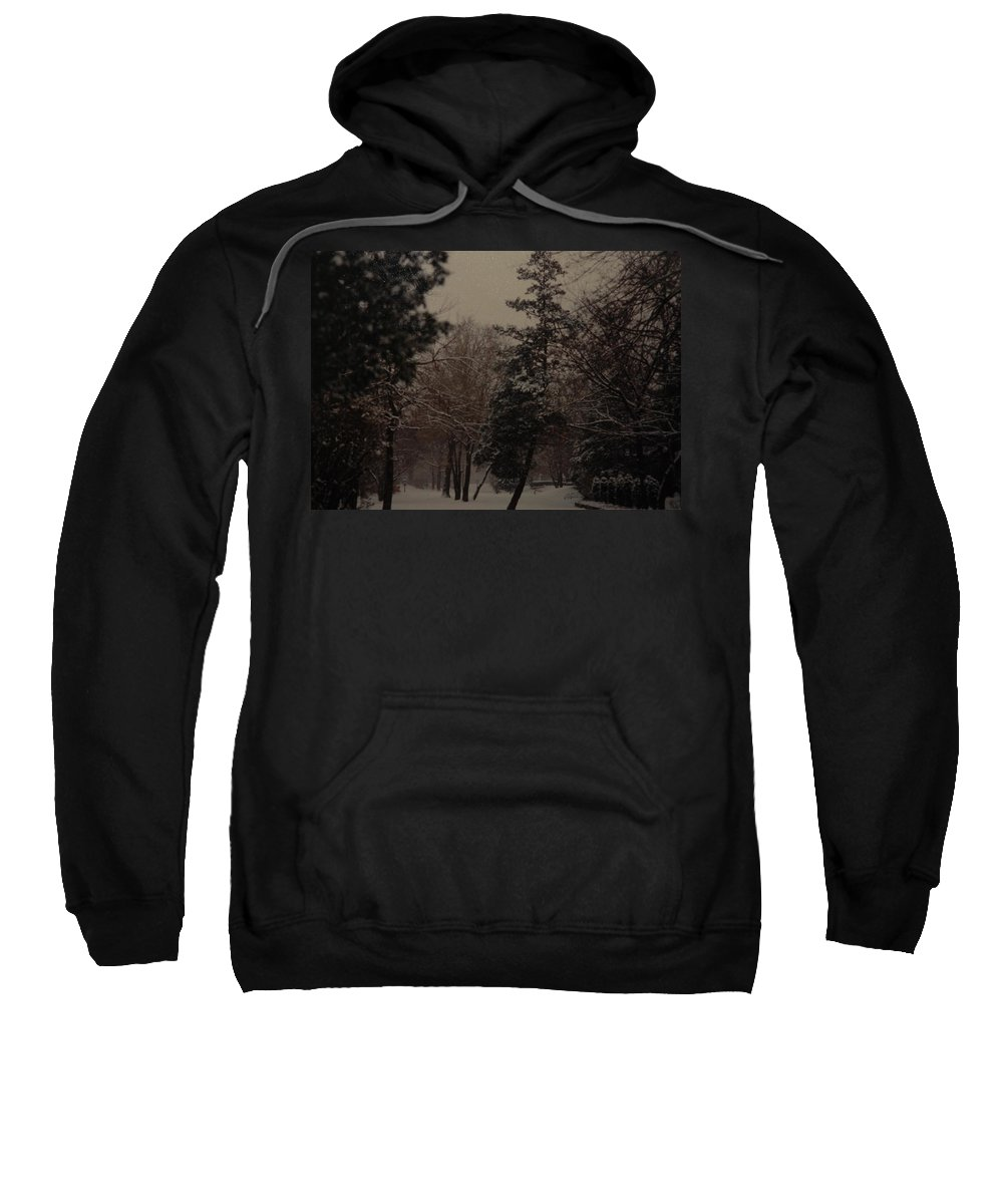 Lights Sweatshirt featuring the photograph Peaceful Snow Dusk by Rob Hans