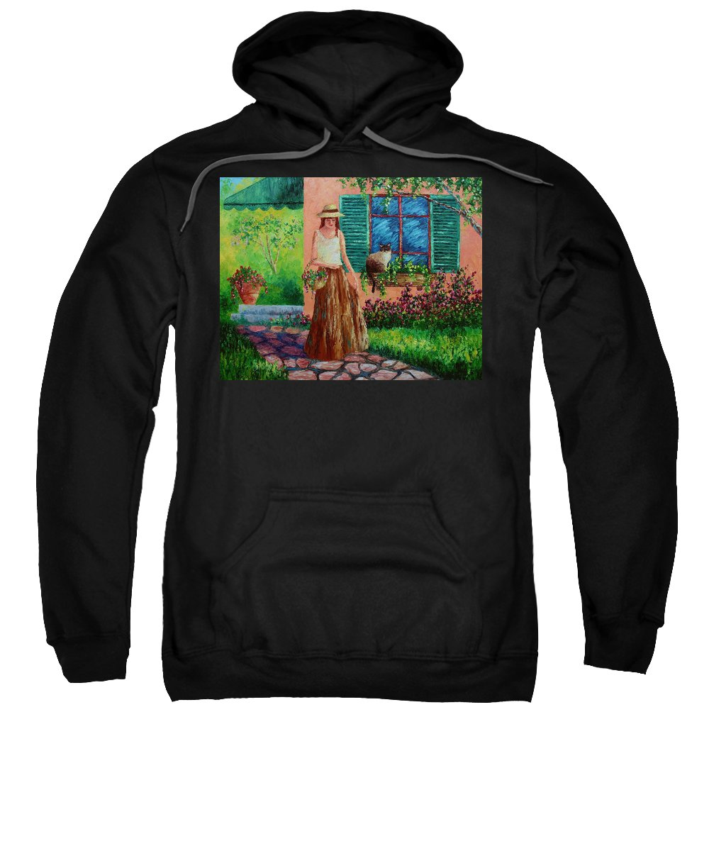 Woman Sweatshirt featuring the painting Peaceful Thoughts by David G Paul