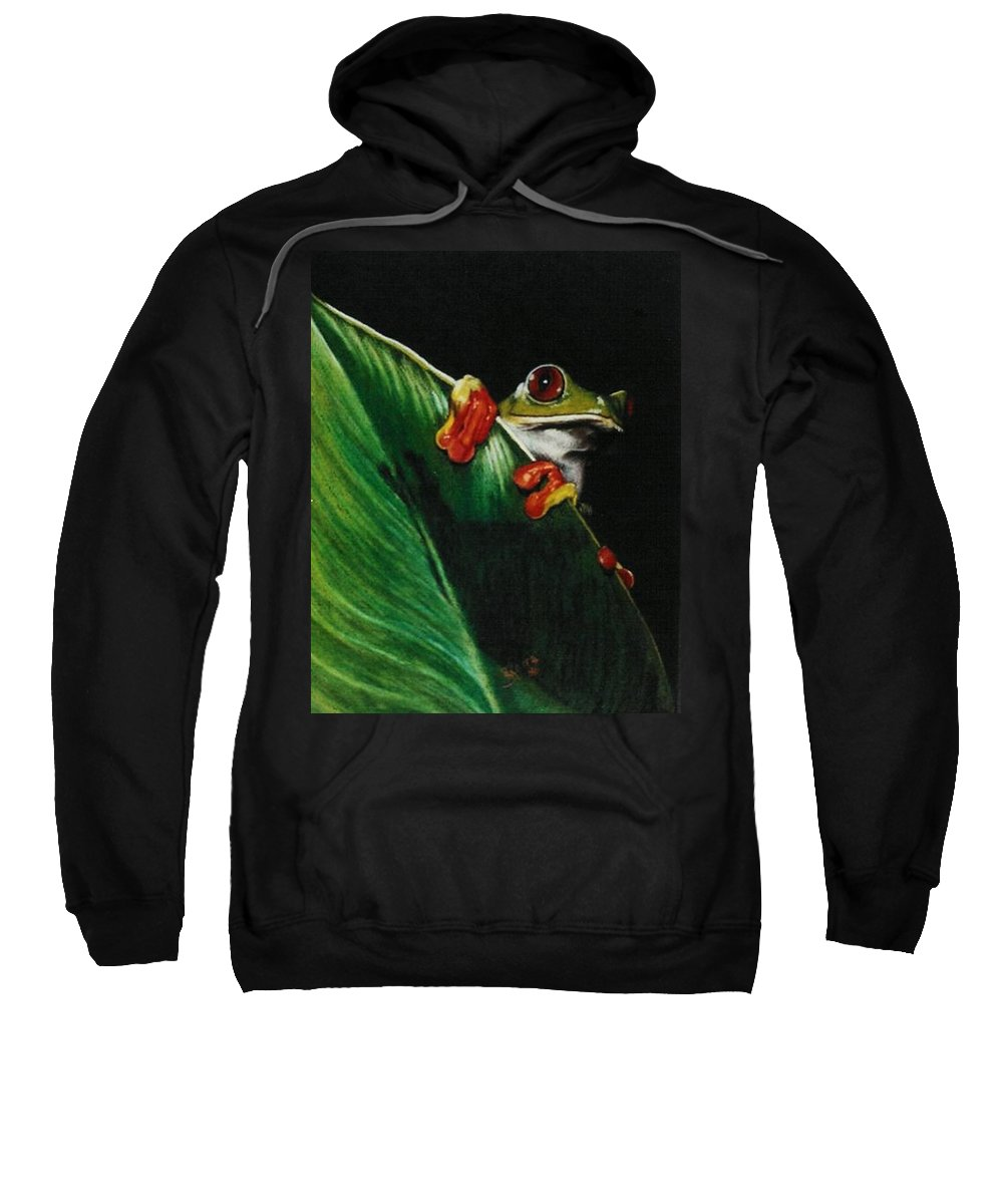 Frog Sweatshirt featuring the drawing Peek-a-boo by Barbara Keith