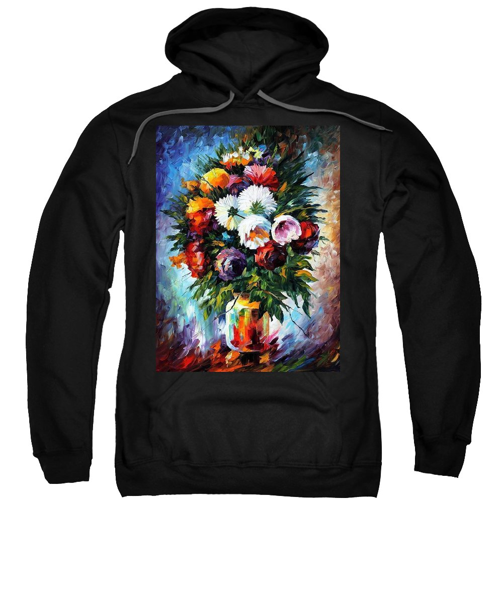 Afremov Sweatshirt featuring the painting Peonies by Leonid Afremov