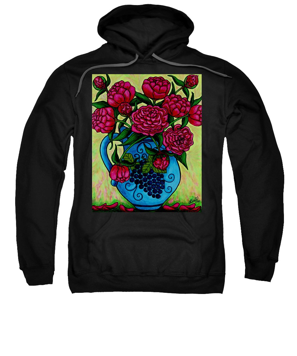 Peonies Sweatshirt featuring the painting Peony Party by Lisa Lorenz