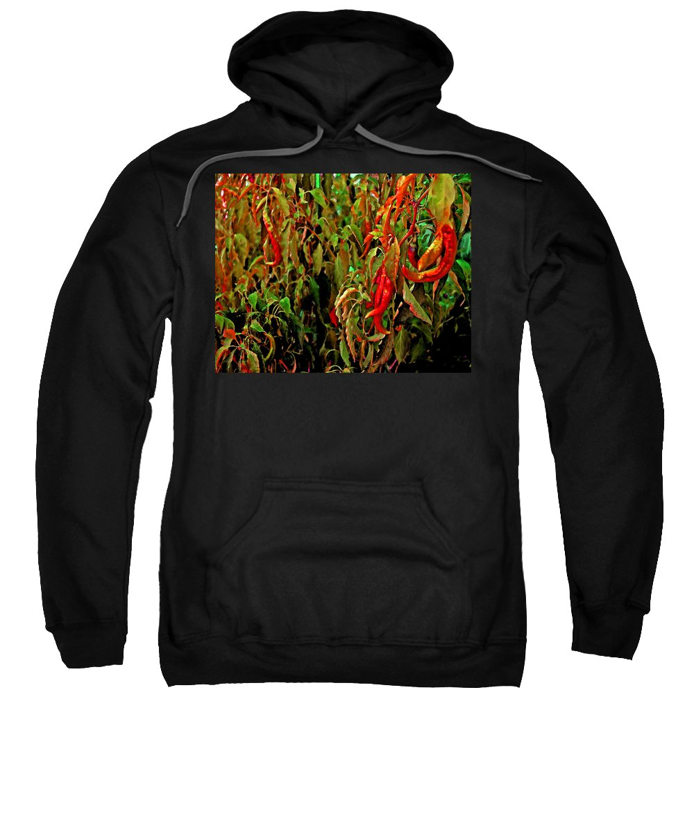 Sweatshirt featuring the photograph Peppers - Red by Michael Thomas