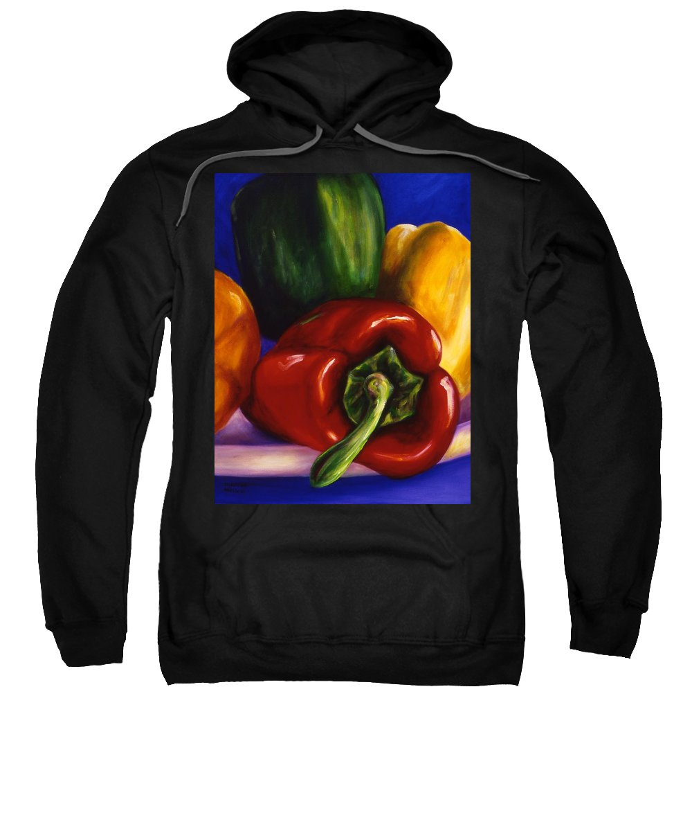 Still Life Sweatshirt featuring the painting Peppers On Peppers by Shannon Grissom