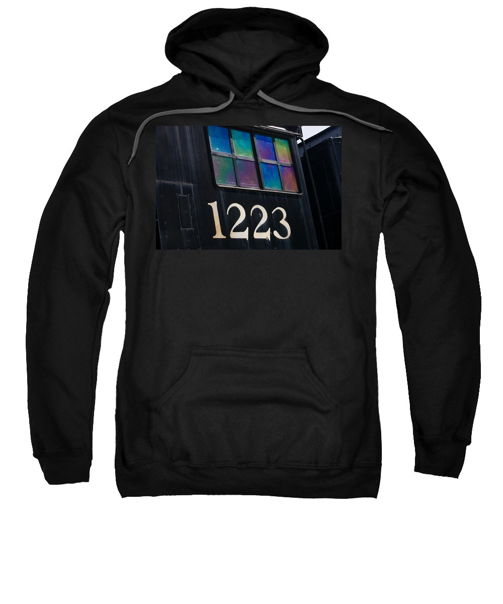 3scape Sweatshirt featuring the photograph Pere Marquette Locomotive 1223 by Adam Romanowicz