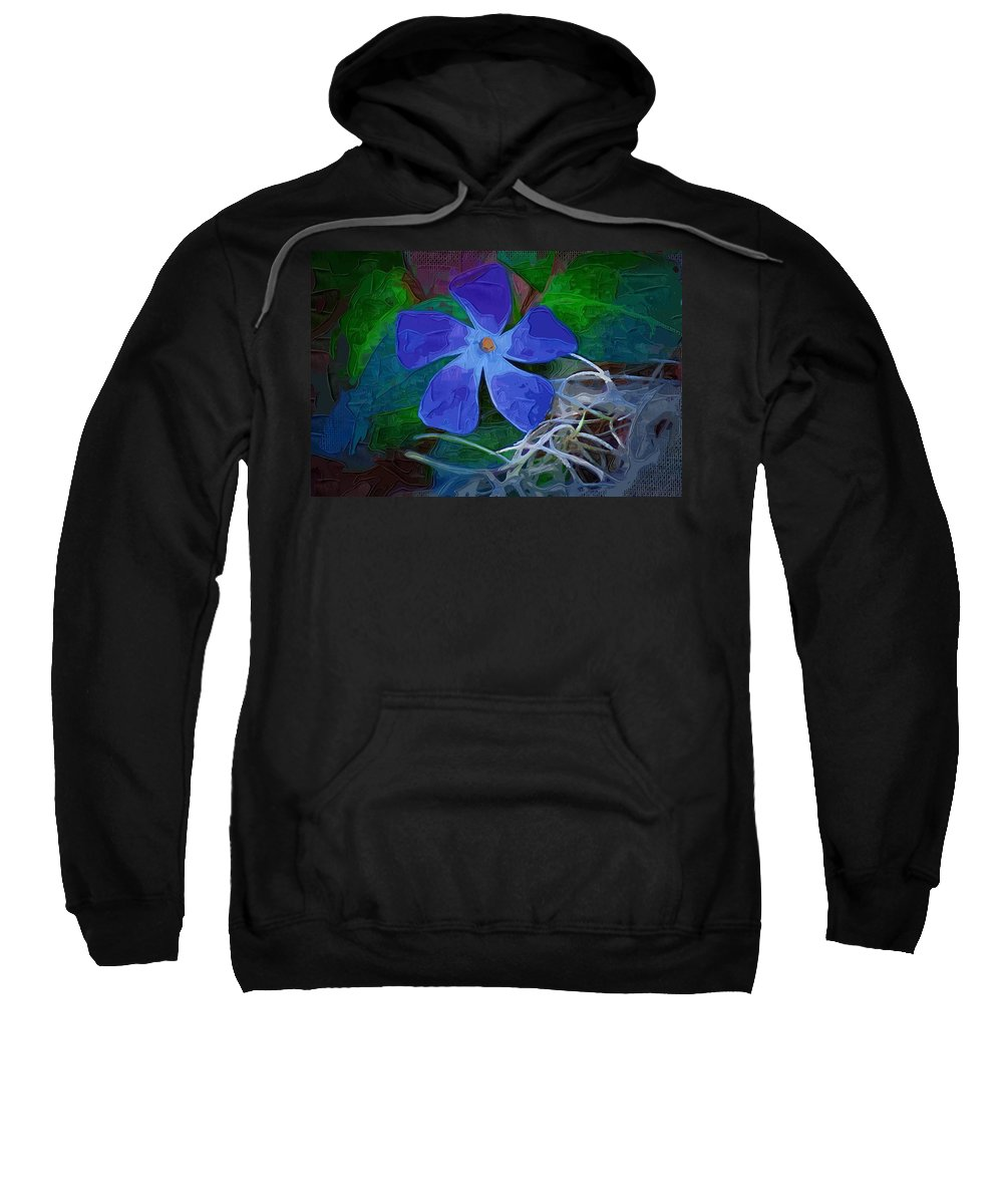 Flower Sweatshirt featuring the digital art Periwinkle Blue by Donna Bentley