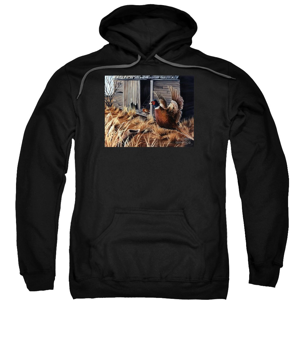Pheasant Sweatshirt featuring the painting Pheasant Open House by Sharon Molinaro
