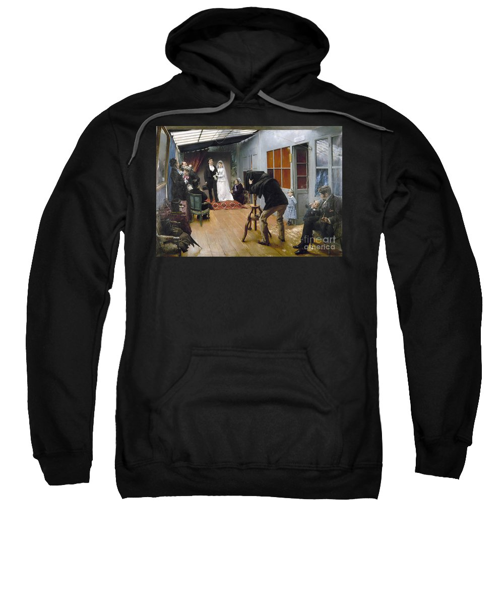 1878 Sweatshirt featuring the photograph Photography Studio, C1878 by Granger