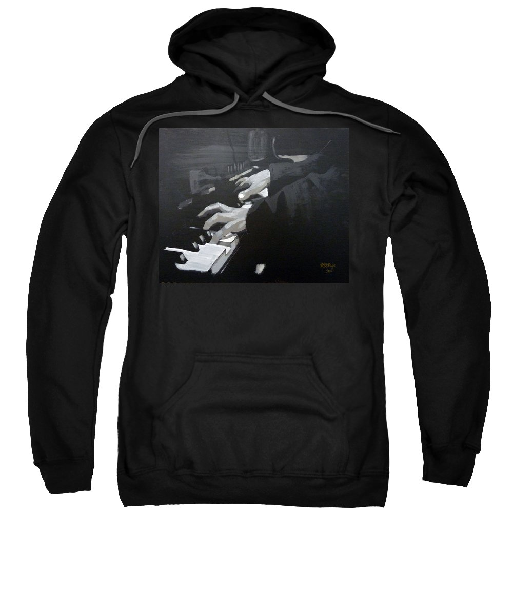 Piano Sweatshirt featuring the painting Piano Hands by Richard Le Page