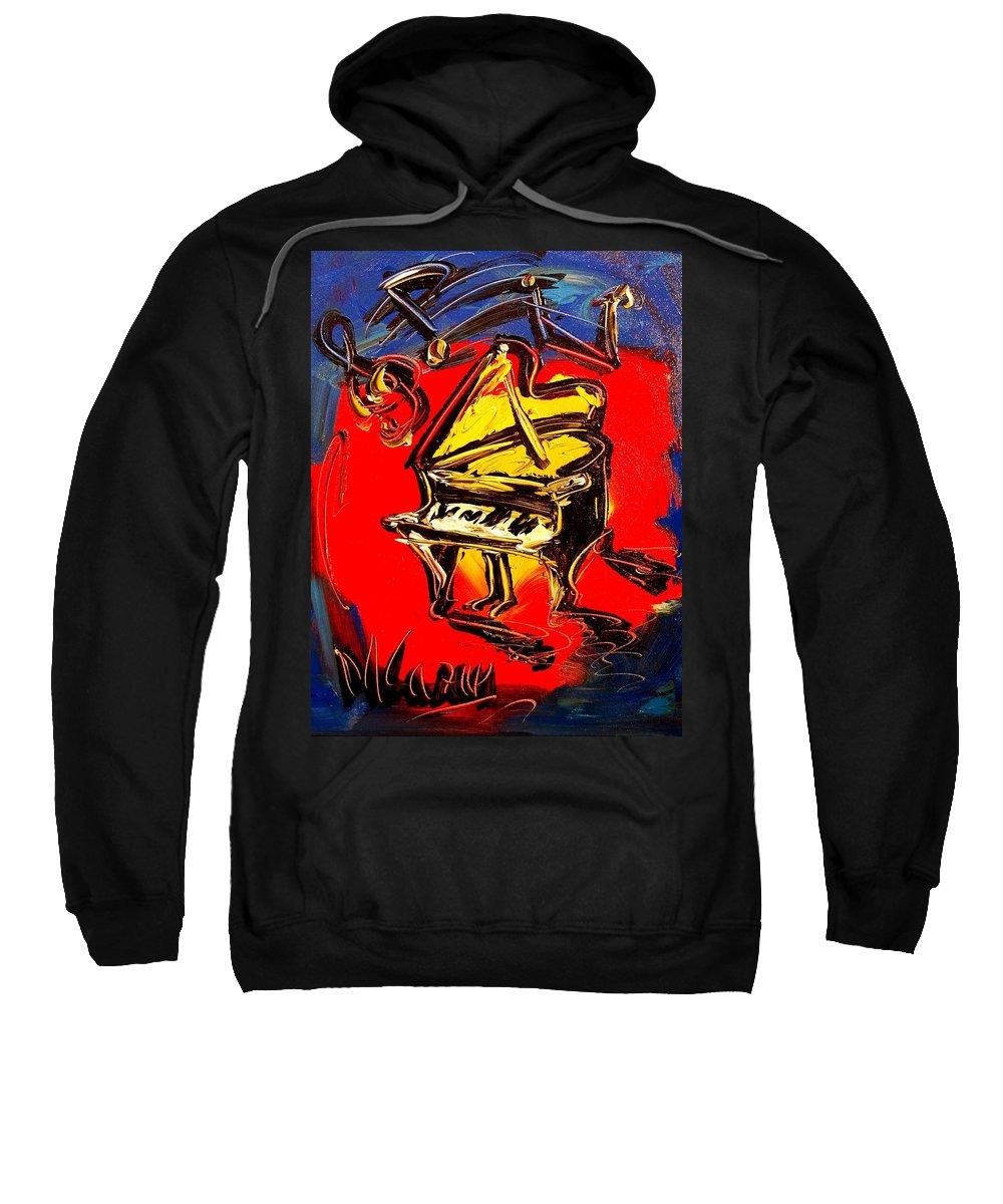 Coffeee Sweatshirt featuring the painting Piano Music Jazz by Mark Kazav