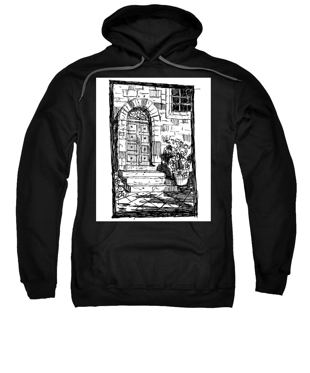 Architecture Sweatshirt featuring the drawing Pienza Corso Rossellino Italy by Ken Pieper