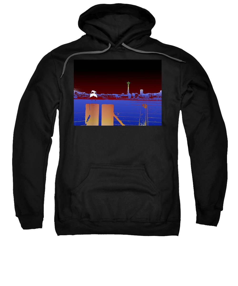 Seattle Sweatshirt featuring the digital art Pier With A View by Tim Allen