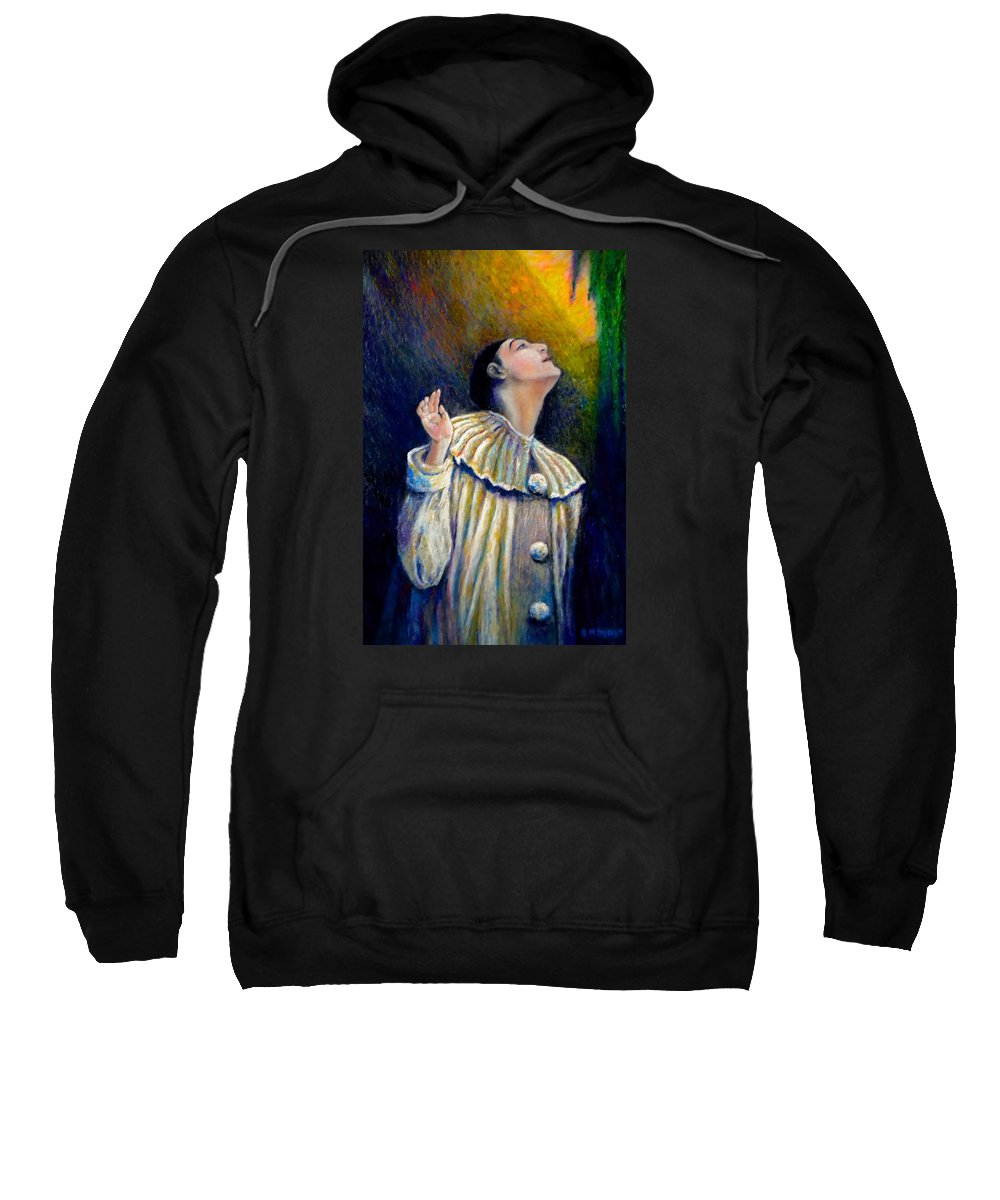 Clown Sweatshirt featuring the painting Pierrot's Peering Into The Light by Michael Durst