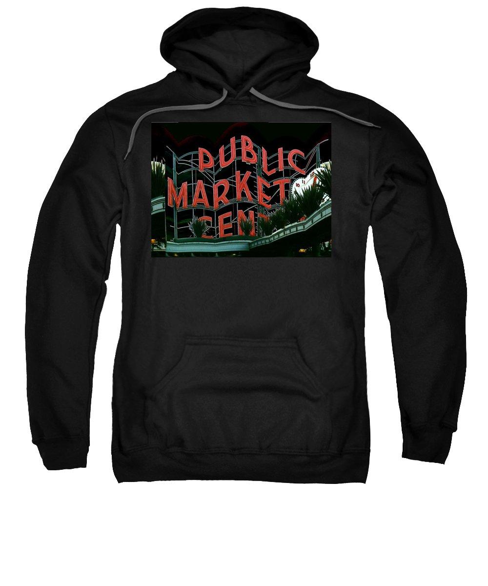 Seattle Sweatshirt featuring the digital art Pike Place Market Entrance 5 by Tim Allen
