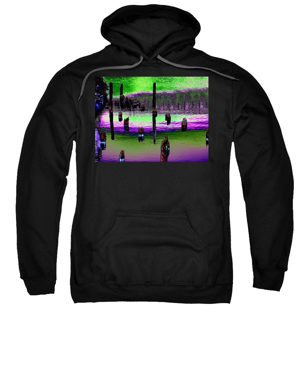 Pilings Sweatshirt featuring the photograph Pilings Of The Past by Tim Allen
