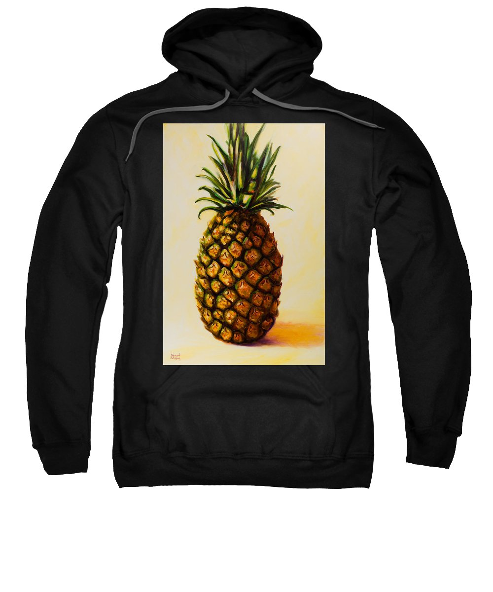 Pineapple Sweatshirt featuring the painting Pineapple Angel by Shannon Grissom