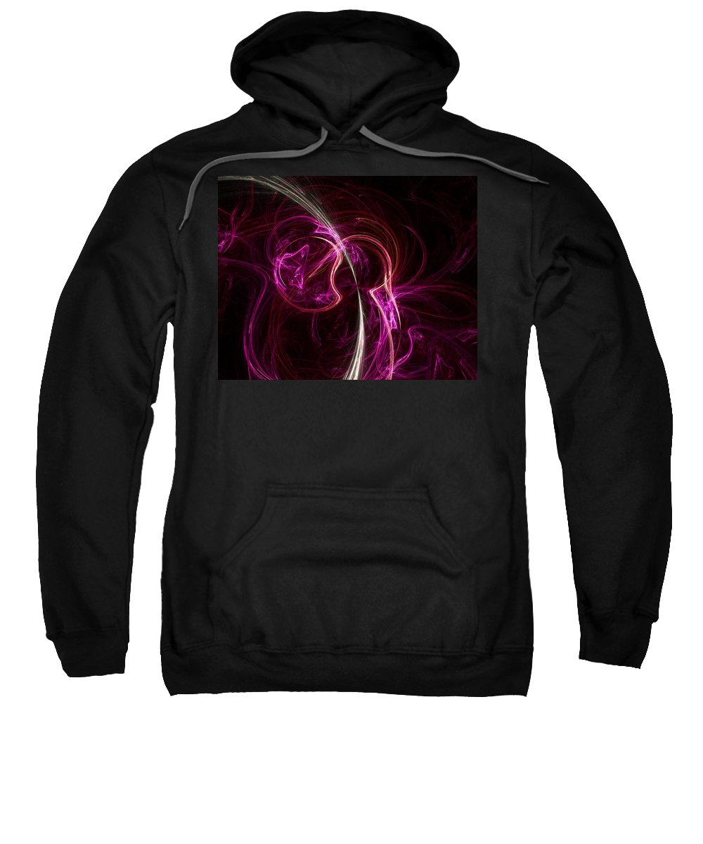 Fractal Sweatshirt featuring the digital art Pink Blume by Susan Kinney