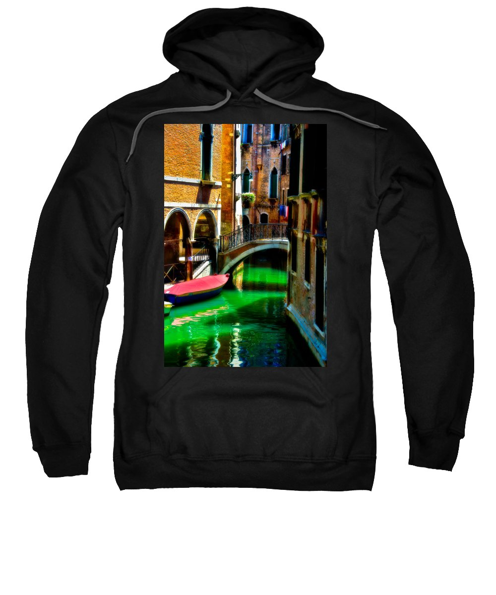 Gondola Sweatshirt featuring the photograph Pink Boat And Canal by Harry Spitz