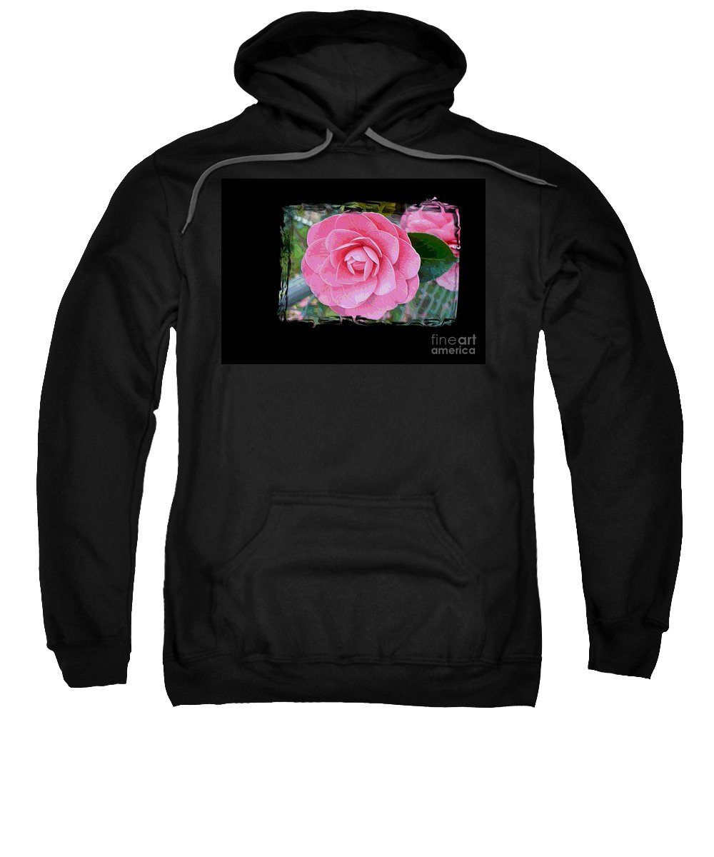 Pink Camelllias Sweatshirt featuring the photograph Pink Camellias With Fence And Framing by Carol Groenen