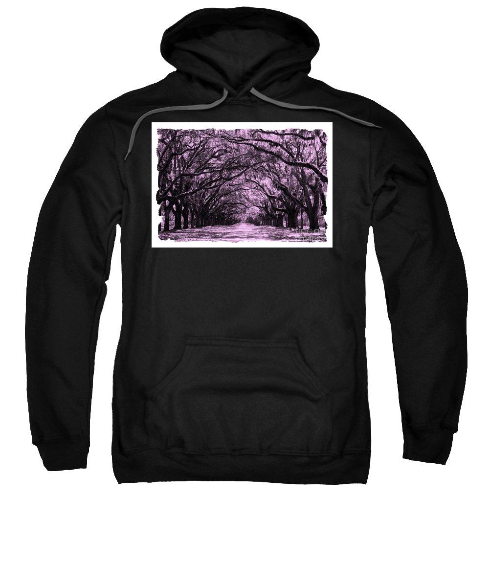 Pink Dream World Sweatshirt featuring the digital art Pink Dream World With White Framing by Carol Groenen
