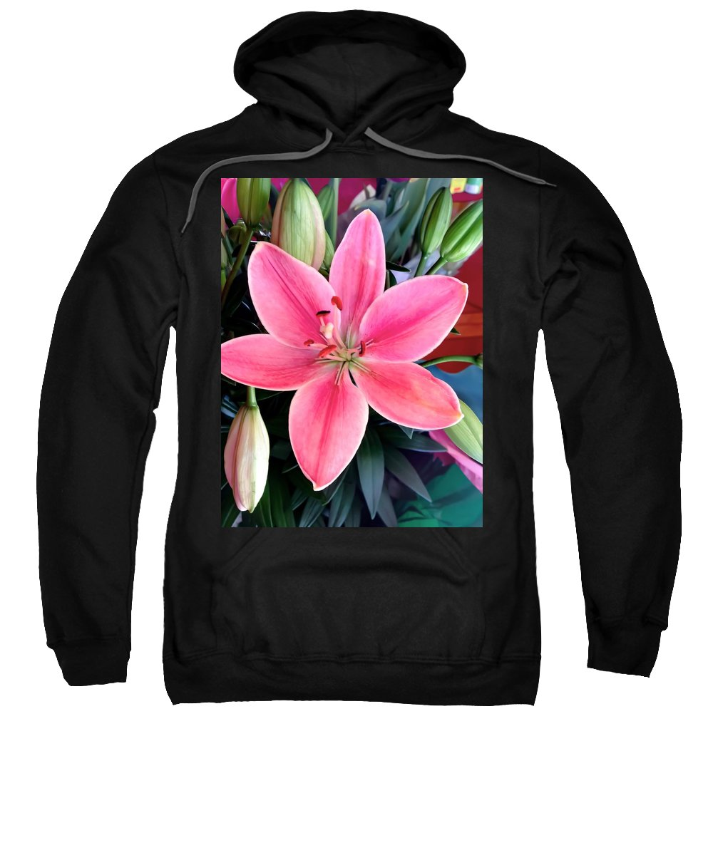 Lily Sweatshirt featuring the photograph Pink Lily by Carol McGinn