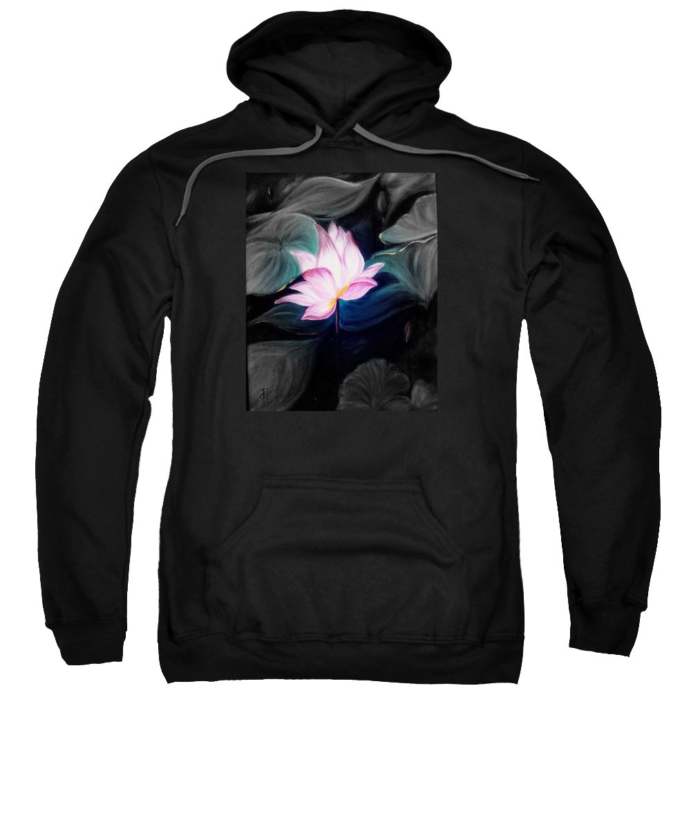 Lotus Sweatshirt featuring the painting Pink Lotus by Dina Holland
