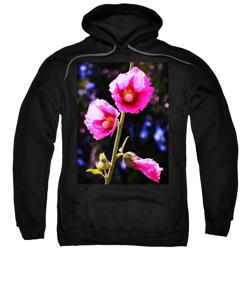 Nature Sweatshirt featuring the painting Pink Red Flower by Eric Schiabor