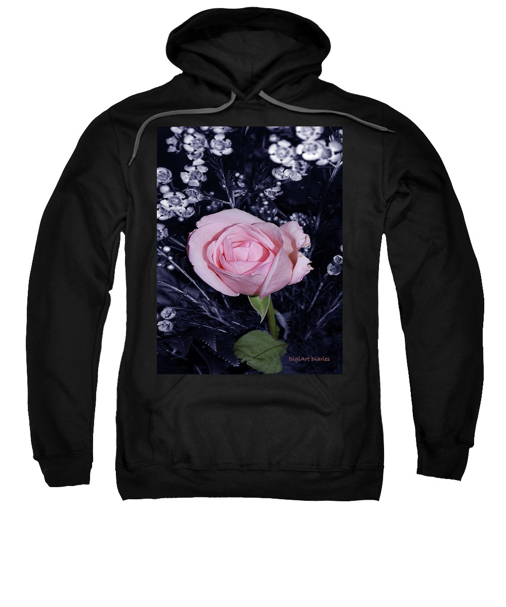 Rose Sweatshirt featuring the digital art Pink Rose Of Imperfection by DigiArt Diaries by Vicky B Fuller