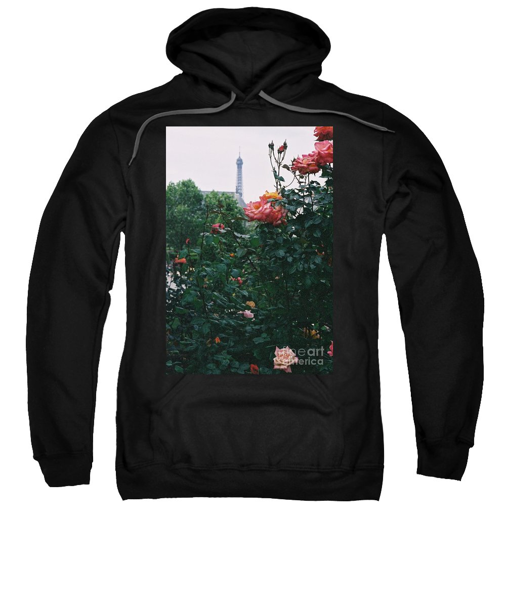 Roses Sweatshirt featuring the photograph Pink Roses And The Eiffel Tower by Nadine Rippelmeyer